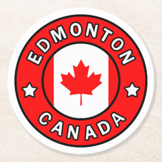 Edmonton Canada Round Paper Coaster