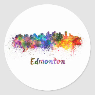 Edmonton skyline in watercolor classic round sticker