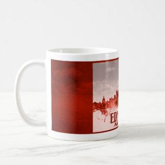 Edmonton skyline with red grunge basic white mug