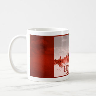 Edmonton skyline with red grunge coffee mugs