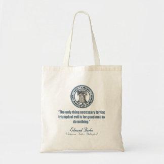 Edmund Burke Quote (Good v Evil) Budget Tote Bag