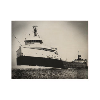 Edmund Fitzgerald Vintage Great Lakes Maritime Wood Poster