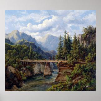 Edmund Höd Wooden Bridge over a Mountain Stream Poster