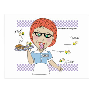 Edna The Lunch Lady Cartoons Postcard