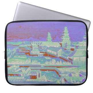 Edo Castle Tokyo Japan Vintage Colorful Fun 1800s Laptop Sleeve