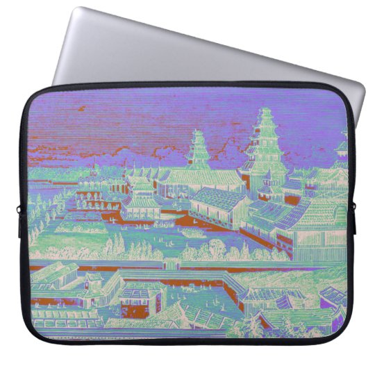 Edo Castle Tokyo Japan Vintage Colourful Fun 1800s Laptop Sleeve