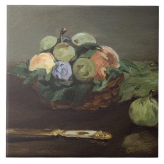 Edouard Manet - Basket of Fruit Large Square Tile
