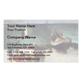 Edouard Manet- Seascape at Berck Fishing Boats Business Card Templates