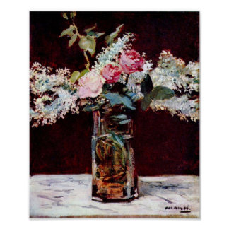 Edouard Manet - Still life lilac and roses Poster