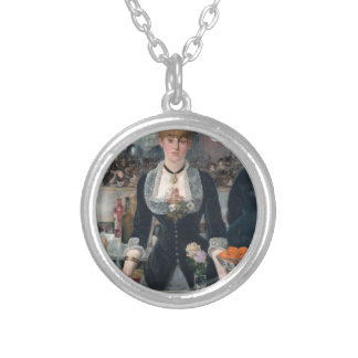 Edouard Manet's A Bar at the Folies-Bergère Silver Plated Necklace