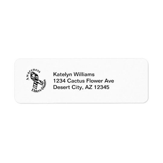 EDS Awareness Zebra Ribbon Address Avery Label Return Address Label