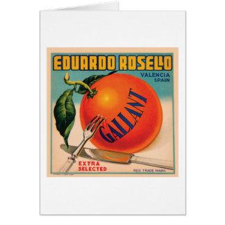 Eduardo Rosello Valencia Spain VIntage Crate Labe Greeting Card
