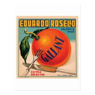 Eduardo Rosello Valencia Spain VIntage Crate Labe Postcard