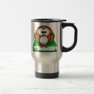 Education Owl on Green Book Travel Mug