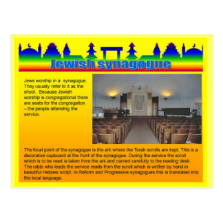 Education, Religion, Jewish synagogue Postcard
