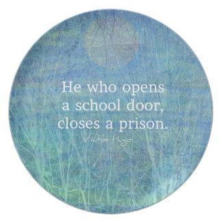 Education teacher teaching quote Victor Hugo Plate