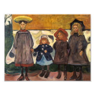 Edvard Munch - Four Girls in Asgardstrand Photographic Print
