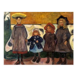 Edvard Munch - Four Girls in Asgardstrand Postcard