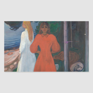 Edvard Munch - Red and White Rectangular Sticker