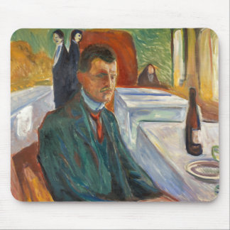 Edvard Munch - Self-Portrait with a Bottle of Wine Mouse Pad
