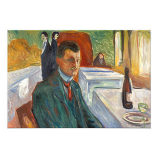 Edvard Munch - Self-Portrait with a Bottle of Wine Photo Art