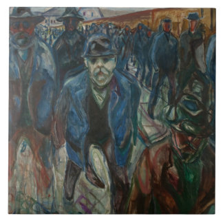 Edvard Munch - Workers on their Way Home Large Square Tile