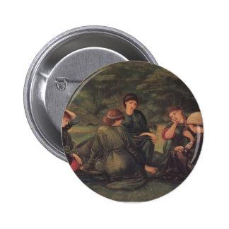 Edward Burne-Jones- Green Summer Pinback Buttons