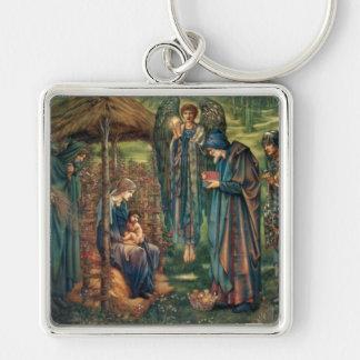 Edward Burne-Jones: Star of Bethlehem Silver-Colored Square Key Ring