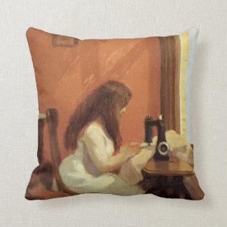 Edward Hopper GIRL AT SEWING MACHINE 1921 Cushion