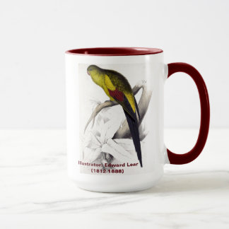 Edward Lear Bird Collection Black Tailed Parakeet Mug