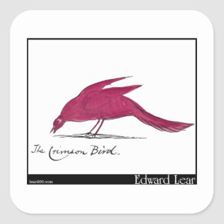 Edward Lear's Crimson Bird Square Stickers