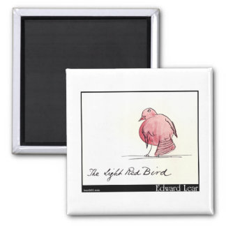 Edward Lear's Light Red Bird Square Magnet