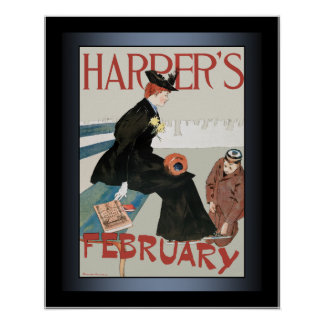 Edward Penfield ~Woman ~ Ice Skates ~ Harper's Mag Poster