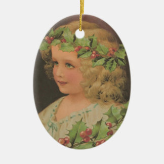 Edwardian Child Holly Christmas Ornament
