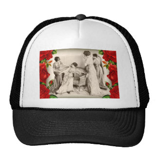 Edwardian Ladies with Roses Mesh Hats