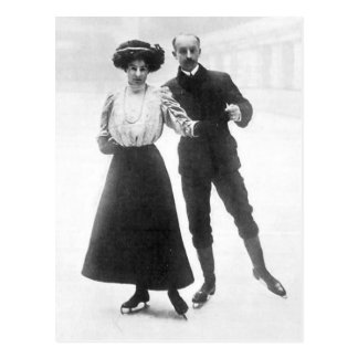 Edwardian Skaters Postcard