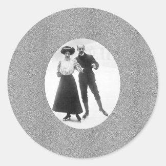 Edwardian Skaters Round Sticker