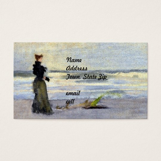 Edwardian Woman on Beach Business Card
