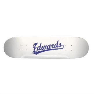 Edwards script logo in blue skate decks