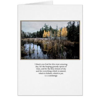 ee Cummings quote Cattails and Larches Card