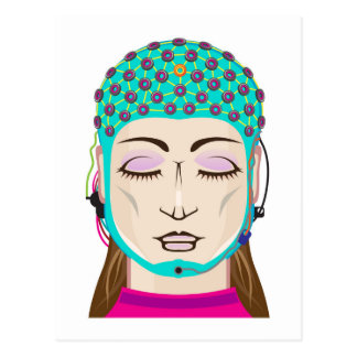 EEG device Mind reading scanning Brain signals Postcard