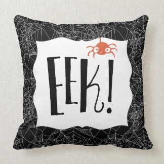 """Eek!"" Scary Cute Spider Halloween Design Cushion"