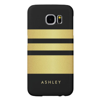 Eelgant Black Gold Glitter Stripes Pattern Samsung Galaxy S6 Cases