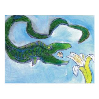 Eels eat bananas! postcard