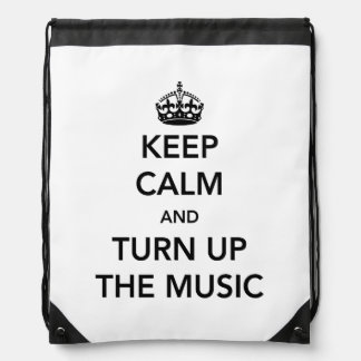 eep Calm and Turn Up the Music Drawstring Bag