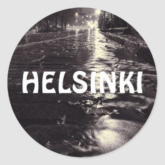 eeRain water flowing on the streets of Helsinki Round Sticker