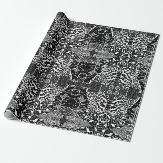 Eerie Black White Nature Drawing Wrapping Paper