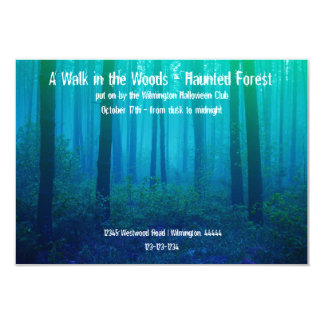 Eerie Blue Forest - 3x5 Haunted Forest Invitation
