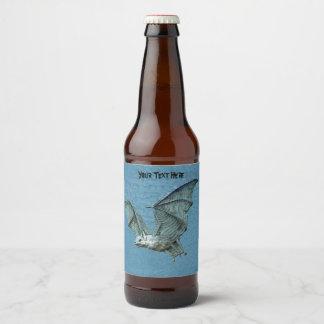 Eerie Flying Three Dimensional Look Bat Beer Bottle Label