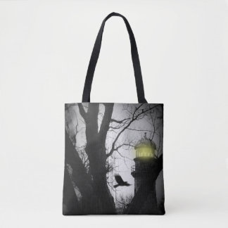 Eerie Lighthouse crow Tote Bag